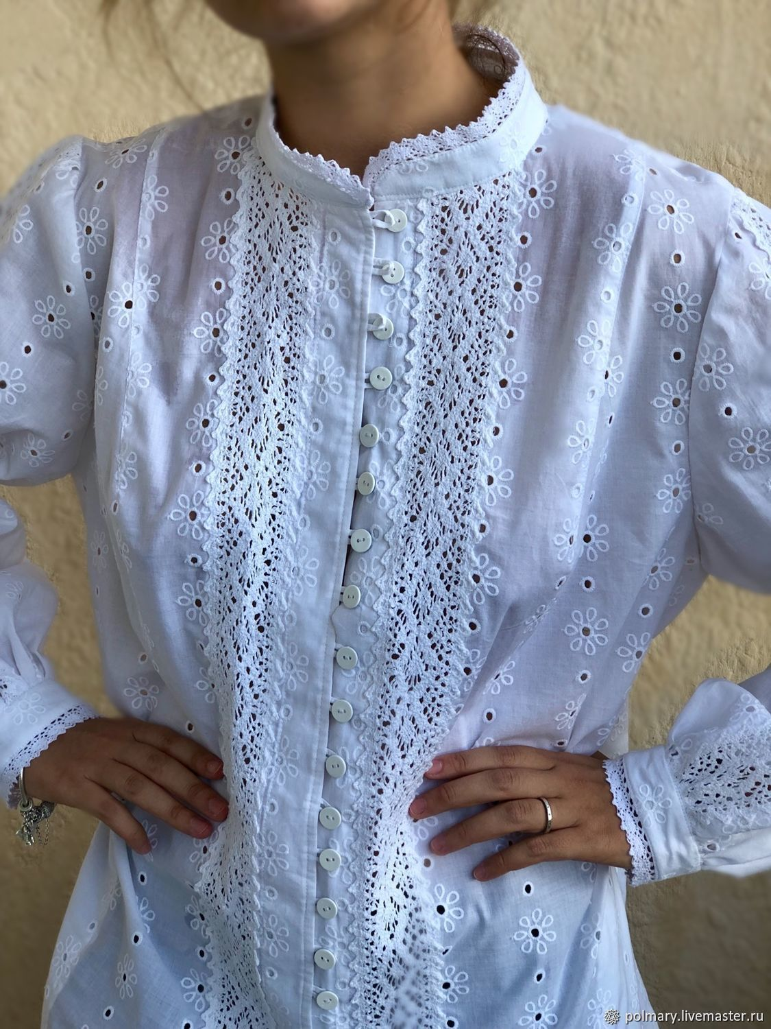 Blouse shirt white cotton and lace boho style Anastasia, Blouses, Tashkent, Фото №1