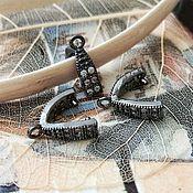 Материалы для творчества handmade. Livemaster - original item Bale clamp with zircons 9.9x10 mm black (3339). Handmade.