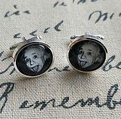 Украшения handmade. Livemaster - original item Cufflinks silver plated albert Einstein (large). Handmade.