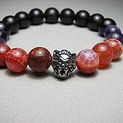 Украшения handmade. Livemaster - original item Bracelet with agate, amethyst, basalt (lava) and wood. Handmade.