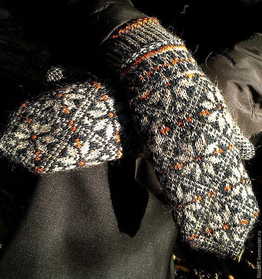 Варежки, митенки, перчатки ручной работы. Ярмарка Мастеров - ручная работа. Купить жаккардовые варежки. Handmade. Разноцветный, варежки из шерсти