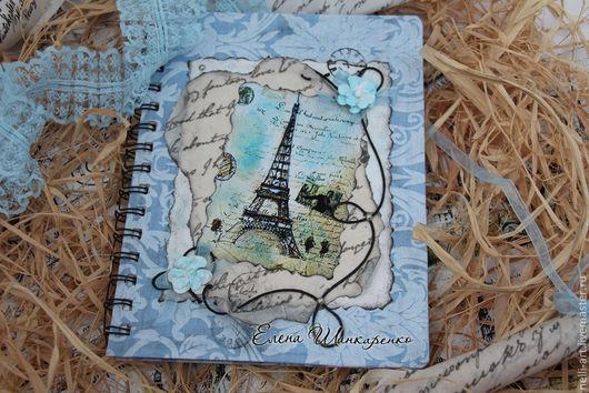 Блокноты ручной работы. Ярмарка Мастеров - ручная работа. Купить Блокнот  для записей Париж. Handmade. Голубой, Блокнот для женщины, калька