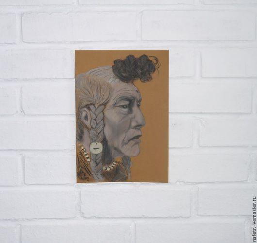 """Люди, ручной работы. Ярмарка Мастеров - ручная работа. Купить """"Индеец"""" Пастель. Handmade. Разноцветный, картина, пастель сухая"""