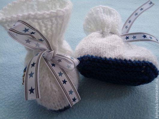"""Для новорожденных, ручной работы. Ярмарка Мастеров - ручная работа. Купить Пинетки """"Морские"""". Handmade. Комбинированный, на выписку, пинетки в подарок"""
