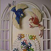 """Картины и панно ручной работы. Ярмарка Мастеров - ручная работа Картина """"Птицы в окне"""". Handmade."""