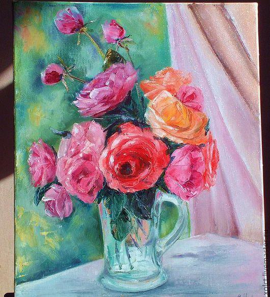 """Картины цветов ручной работы. Ярмарка Мастеров - ручная работа. Купить Картина маслом """"Розы"""". Handmade. Картина, букет цветов"""