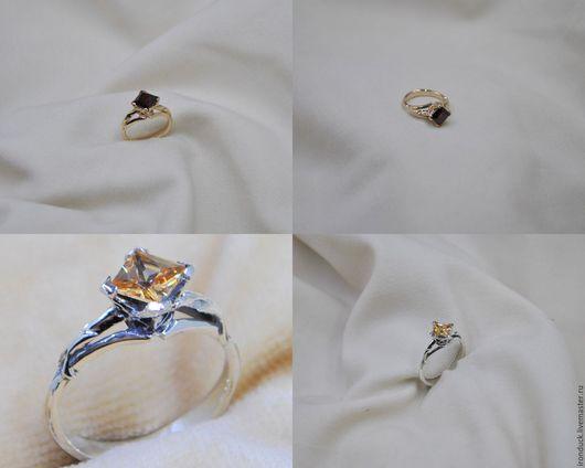 Кольца ручной работы. Ярмарка Мастеров - ручная работа. Купить Кольцо с с квадратным камнем. Handmade. Золотой, кольцо с камнем, золото