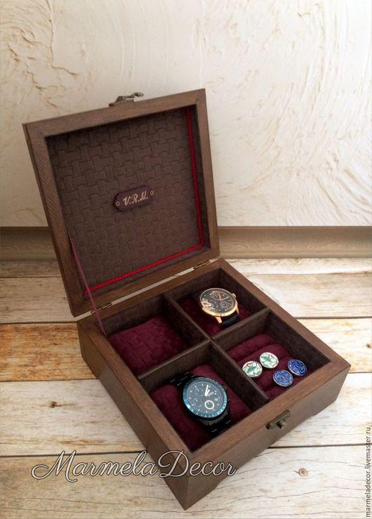Шкатулки ручной работы. Ярмарка Мастеров - ручная работа. Купить Шкатулка для хранения мужских часов с отделением для запонок. Handmade. Для часов