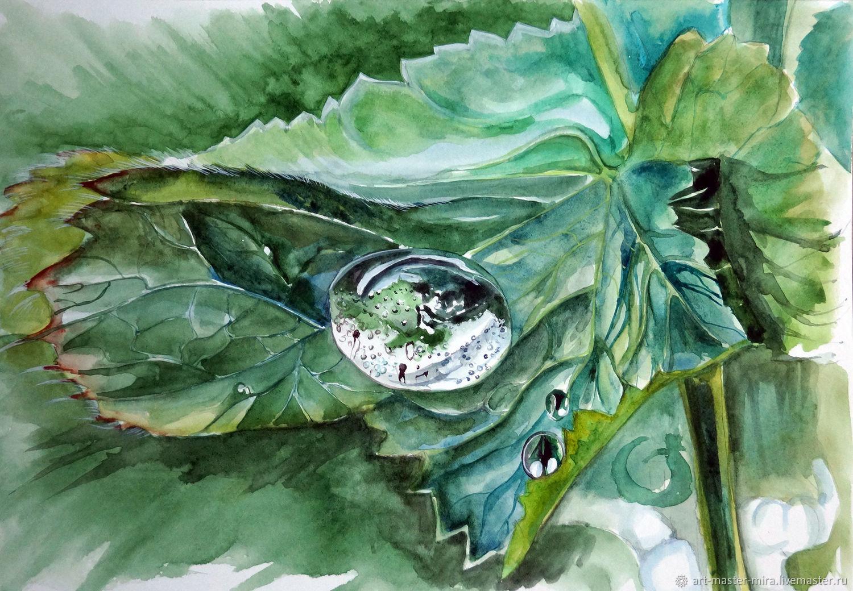 """Картина акварель, зелёный, голубой.""""Капля росы"""", Картины, Севастополь,  Фото №1"""