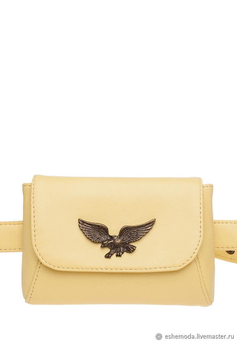 49e17daaab38 Купить Поясная сумка с фурнитурой Поясные сумки ручной работы. Поясная сумка  с фурнитурой 'Орел' , лимон.