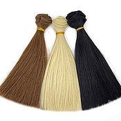 Материалы для творчества handmade. Livemaster - original item Hair for dolls: Hair-tress for dolls straight, set of 3 pcs. Handmade.
