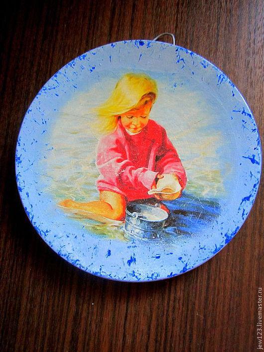 """Люди, ручной работы. Ярмарка Мастеров - ручная работа. Купить Керамическое панно """"Игра"""". Handmade. Голубой, ребенок, небольшой подарок"""