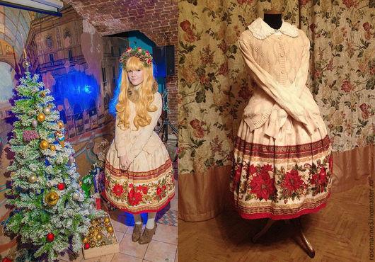 Юбки ручной работы. Ярмарка Мастеров - ручная работа. Купить Новогодняя юбка. Handmade. Ярко-красный, рисунок, хлопок