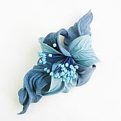 "Украшения handmade. Livemaster - original item Leather brooch flower Orchid ""Blue Silence"" blue jeans denim. Handmade."