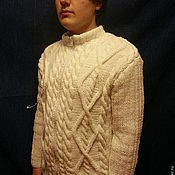 Одежда ручной работы. Ярмарка Мастеров - ручная работа Кофта Белая мужская. Handmade.