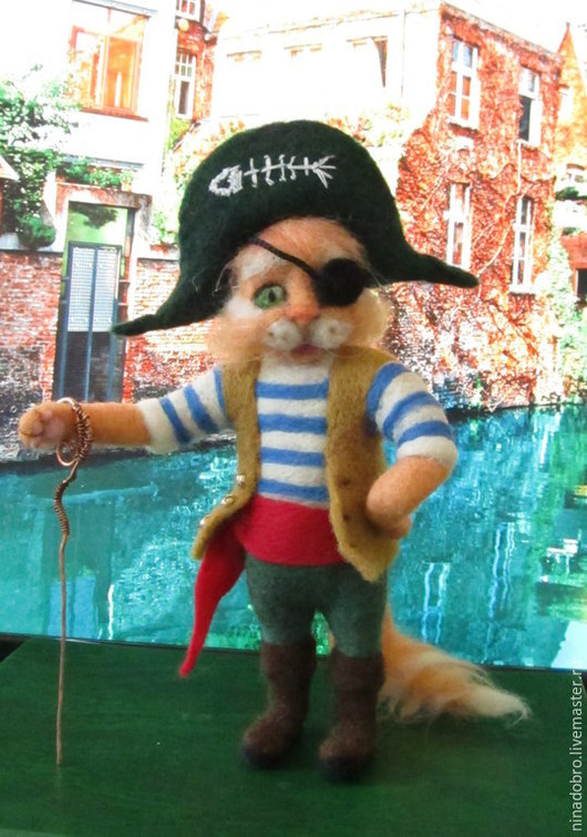 Игрушки животные, ручной работы. Ярмарка Мастеров - ручная работа. Купить Рыжий кот Пират. Handmade. Кот, подарок, медь
