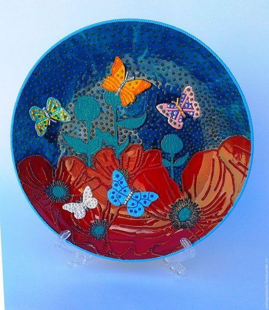 """Тарелки ручной работы. Ярмарка Мастеров - ручная работа. Купить Декоративна тарелка""""Бабочки на маках"""". Handmade. Комбинированный, яркая, оригинальный сувенир"""