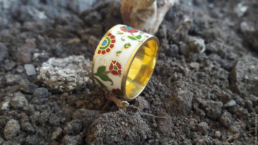 Кольца ручной работы. Ярмарка Мастеров - ручная работа. Купить Позолоченное серебряное кольцо с эмалью - летние цветы. Handmade. Комбинированный