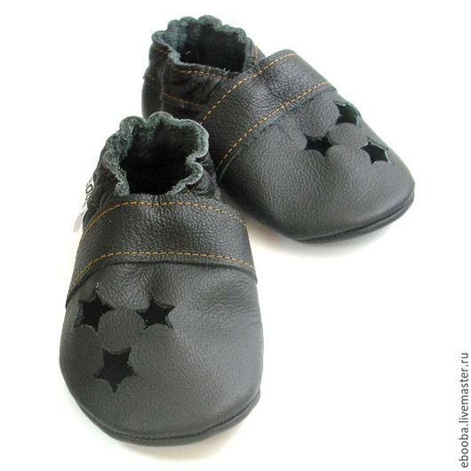 Кожаные чешки тапочки пинетки сандалии чёрные звёздочки ebooba