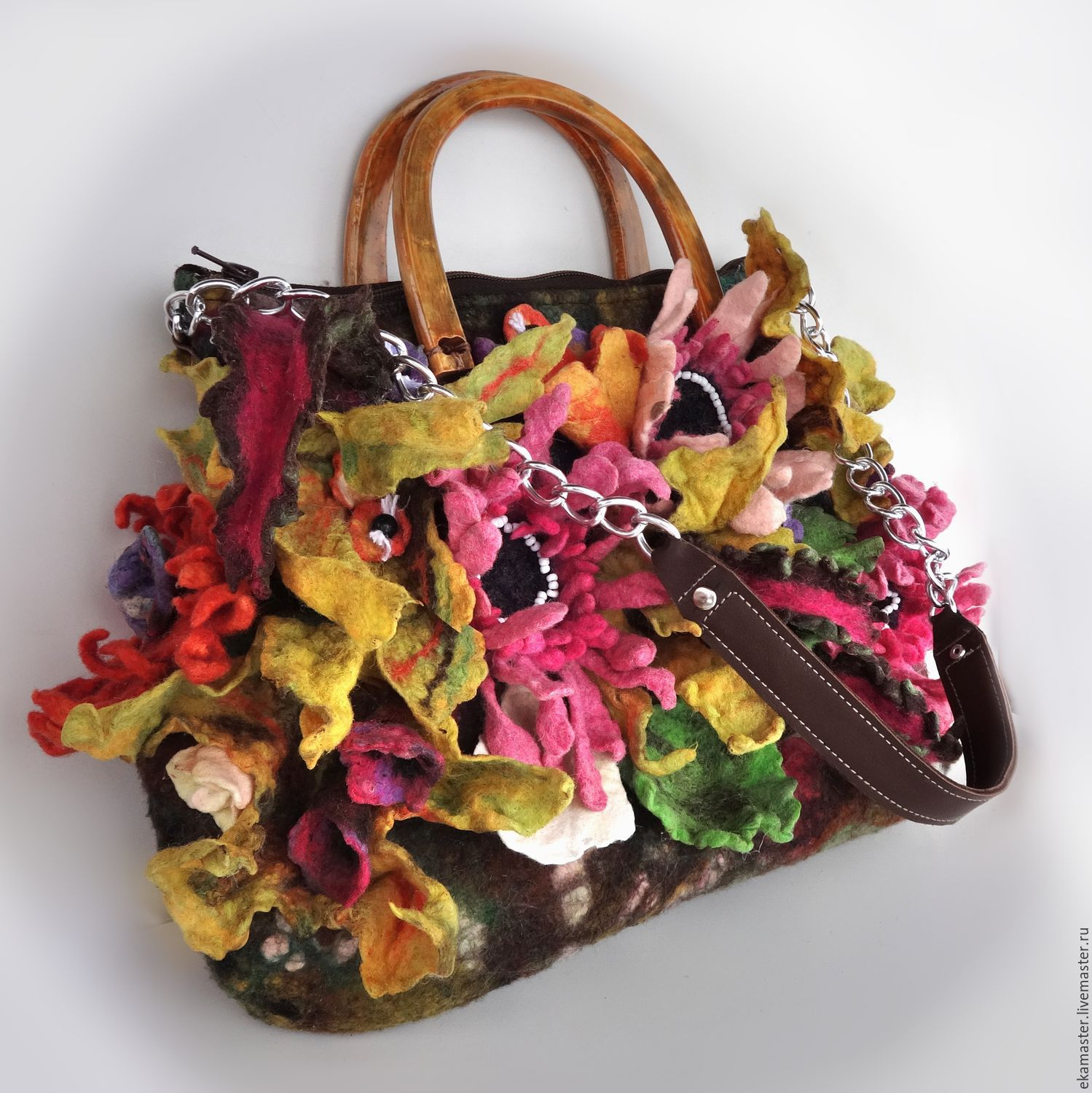 """Bag felted. Art-bag """"Autumn bouquet with gerberas and leaves of the Co, Classic Bag, Ekaterinburg,  Фото №1"""