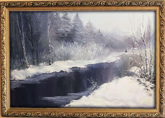 Пейзаж ручной работы. Ярмарка Мастеров - ручная работа. Купить Снегири или уроки живописи.... Handmade. Живопись маслом, лес