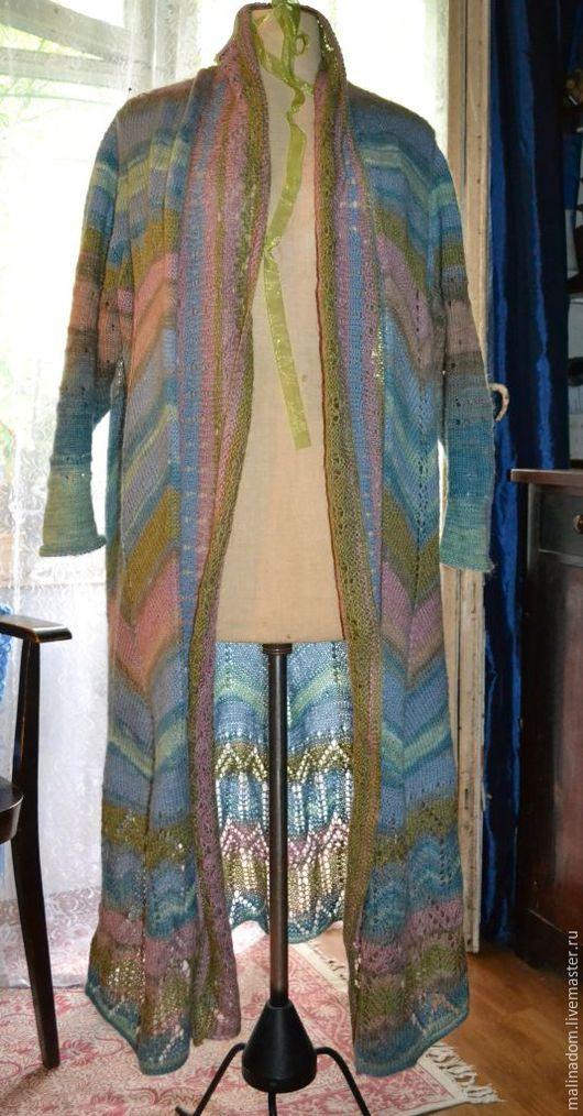"""Верхняя одежда ручной работы. Ярмарка Мастеров - ручная работа. Купить Вязаное пальто бохо """"Голубая мечта"""". Handmade. Комбинированный"""
