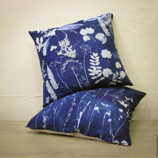 Текстиль, ковры ручной работы. Ярмарка Мастеров - ручная работа. Купить декоративные наволочки на подушку. Handmade. Тёмно-синий