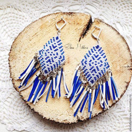 Серьги ручной работы. Ярмарка Мастеров - ручная работа. Купить Серьги из бисера в индейском стиле с замшевой бахромой. Синие. Handmade.