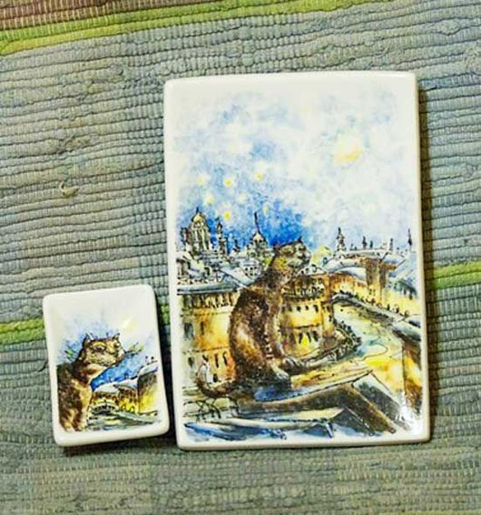Тарелки ручной работы. Ярмарка Мастеров - ручная работа. Купить Румянцевские коты. Handmade. Для суши, Румянцев, Питер, фарфор