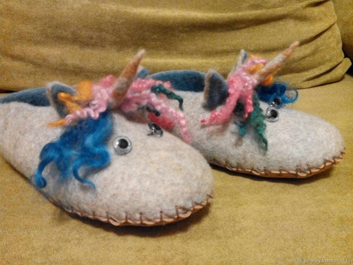 Slippers felted rainbow unicorn, Slippers, Moscow,  Фото №1