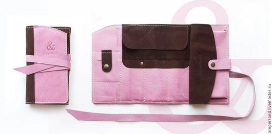 Пеналы ручной работы. Ярмарка Мастеров - ручная работа. Купить Кожаный пенал розового цвета. Handmade. Комбинированный, пенал