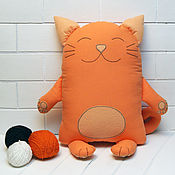 Для дома и интерьера handmade. Livemaster - original item Decorative pillow toy Red cat. Handmade.