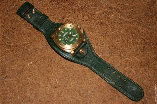 Пояса, ремни ручной работы. Ярмарка Мастеров - ручная работа. Купить Ремешок-браслет для часов. Handmade. Тёмно-зелёный