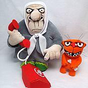 Куклы и игрушки handmade. Livemaster - original item I`ll call the Kremlin now! Soft toy Babka and cat Vasya Lozhkina. Handmade.