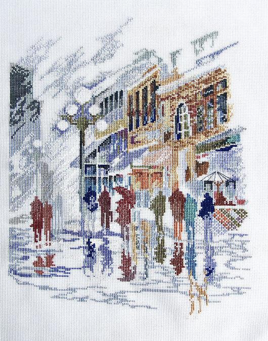Город ручной работы. Ярмарка Мастеров - ручная работа. Купить Оптимистичный дождик. Handmade. Серый, дождь, город, городской пейзаж