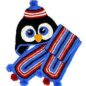 """Работы для детей, ручной работы. Ярмарка Мастеров - ручная работа Шапочка и шарф """"Пингвин"""" (шапка теплая зимняя вязаная с ушками) черный. Handmade."""
