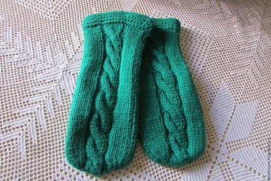 Варежки, митенки, перчатки ручной работы. Ярмарка Мастеров - ручная работа. Купить Зеленые варежки вязаные. Handmade. Варежки