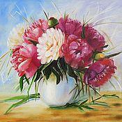 Картины и панно handmade. Livemaster - original item Painting Of Flowers Peonies In A Vase Oil On Canvas
