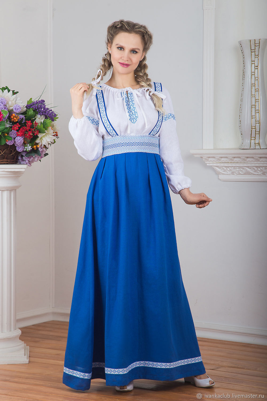 Sundress linen inframammary Arepa blue, Sundresses, Omsk,  Фото №1