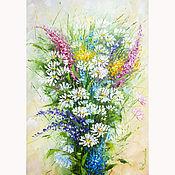 Картины и панно handmade. Livemaster - original item Painting bouquet of daisies Wild flowers. Handmade.