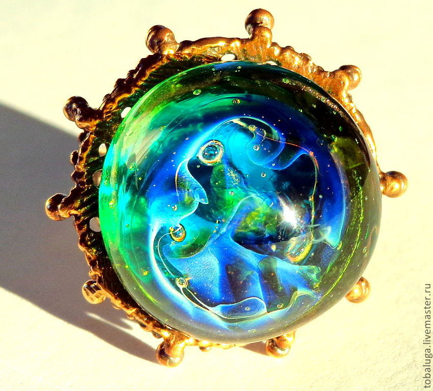 Ring Emerald green with blue iridescence, Rings, St. Petersburg,  Фото №1