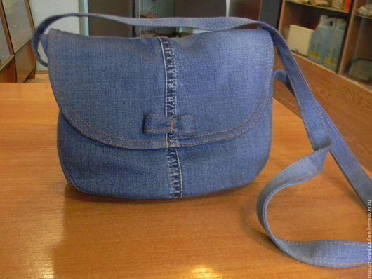 Женские сумки ручной работы. Ярмарка Мастеров - ручная работа. Купить Сумка джинсовая. Handmade. Тёмно-синий, однотонный, джинса