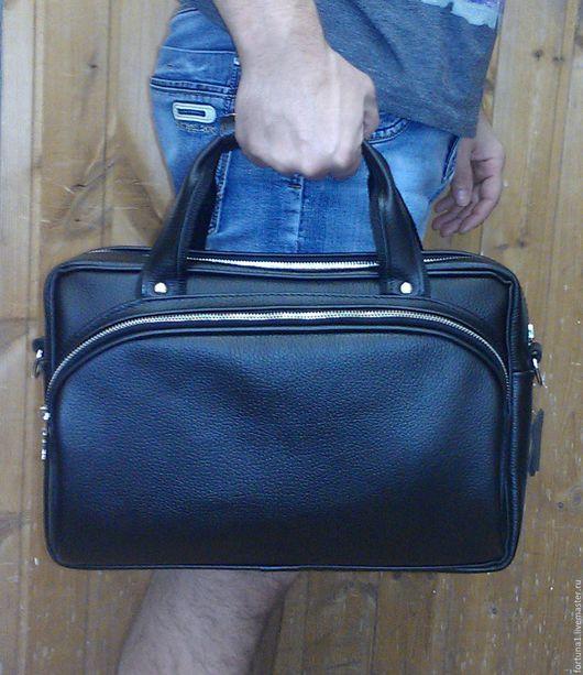 Мужские сумки ручной работы. Ярмарка Мастеров - ручная работа. Купить Сумка кожаная офисная 157. Handmade. Черный