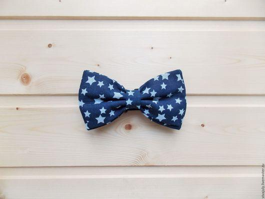 """Галстуки, бабочки ручной работы. Ярмарка Мастеров - ручная работа. Купить Галстук бабочка """"Звезды"""" / темно-синяя бабочка галстук со звездами. Handmade."""