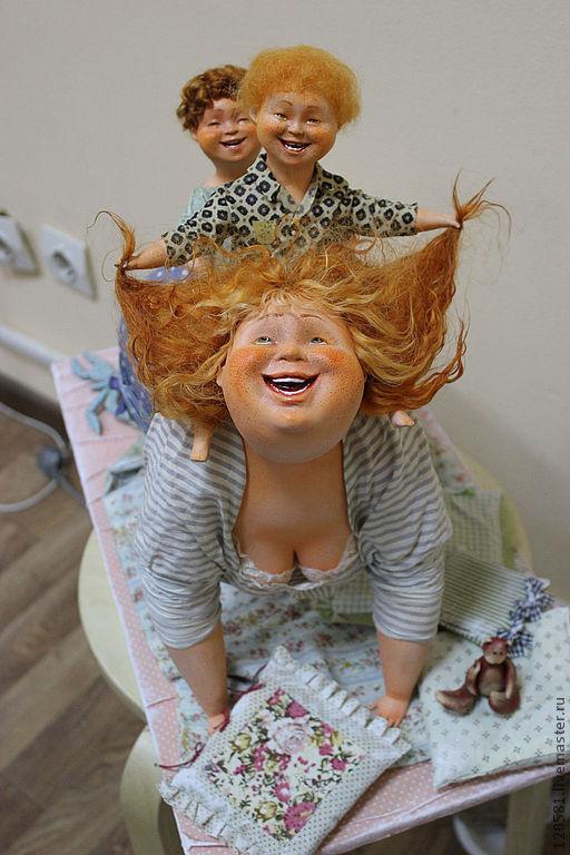 """Коллекционные куклы ручной работы. Ярмарка Мастеров - ручная работа. Купить Авторская кукла """"Игра в лошадки"""". Handmade. папье-маше"""