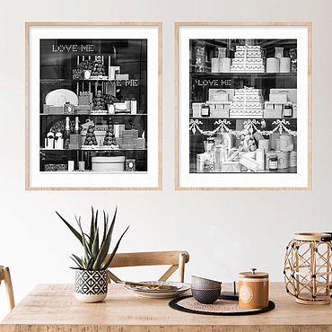 Картины и панно ручной работы. Ярмарка Мастеров - ручная работа Парижское кафе Laduree, черно белые фото картины в столовую Триптих. Handmade.