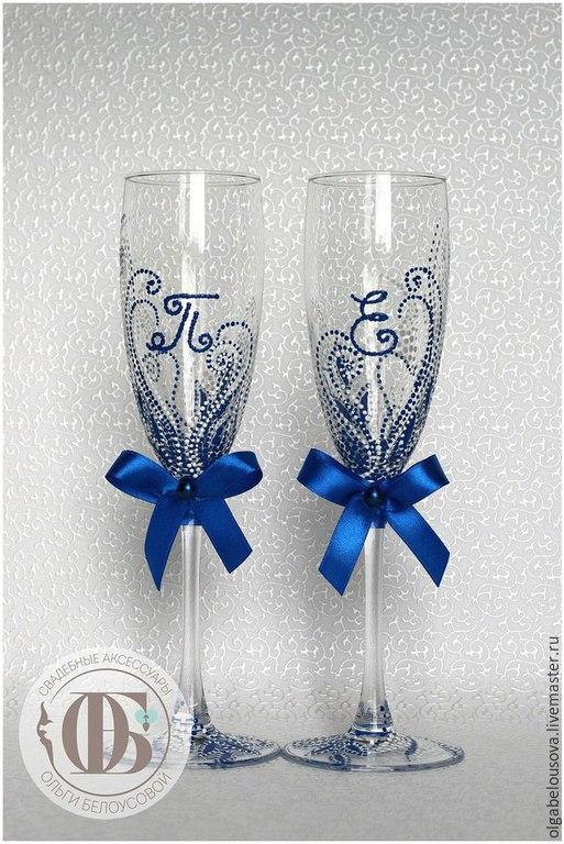 Синие бокалы на свадьбу