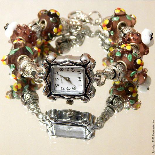 """Часы ручной работы. Ярмарка Мастеров - ручная работа. Купить Часы  """"Милые овечки"""". Handmade. Коричневый, часы с браслетом, пандора"""