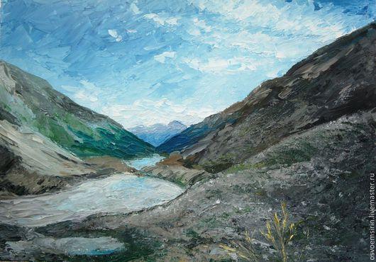 Пейзаж ручной работы. Ярмарка Мастеров - ручная работа. Купить Вид с горы Белухи, масло 30х40. Handmade. Голубой, горы