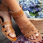 Обувь ручной работы. Ярмарка Мастеров - ручная работа Seaside. Кружевные кожаные босоножки на невысоком каблуке.. Handmade.